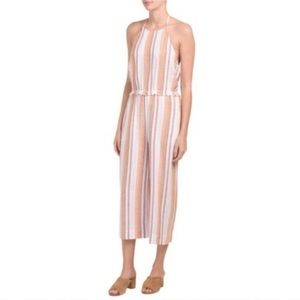 Anthro Cloth & Stone striped linen jumpsuit, S